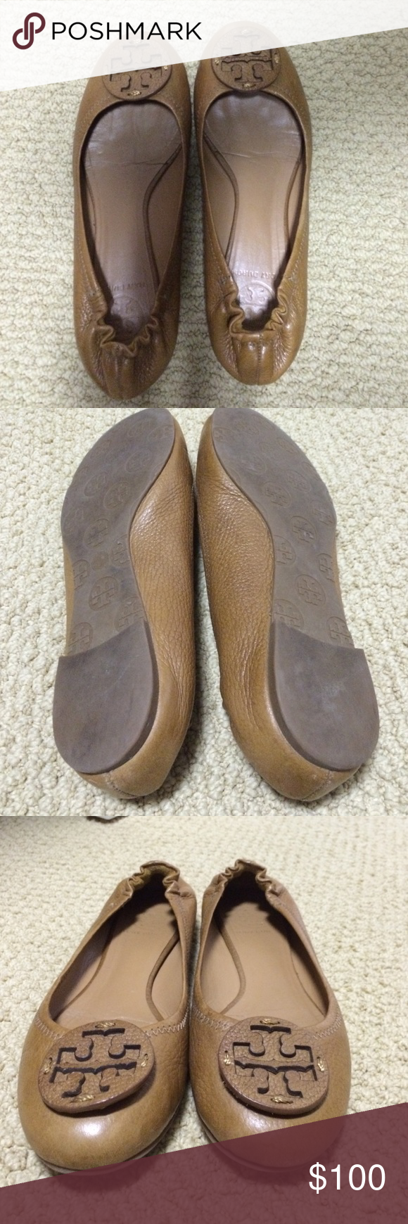e2141b8050ebc0 Tort burch flats tan Like new! Size too small worn only a few times