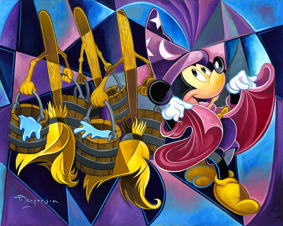 """The Sorcerer's March"" By Tim Rogerson - Original Oil on Canvas, 24 x 30. #Disney #DisneyFineArt #MickeyMouse #Fantasia #TimRogerson"