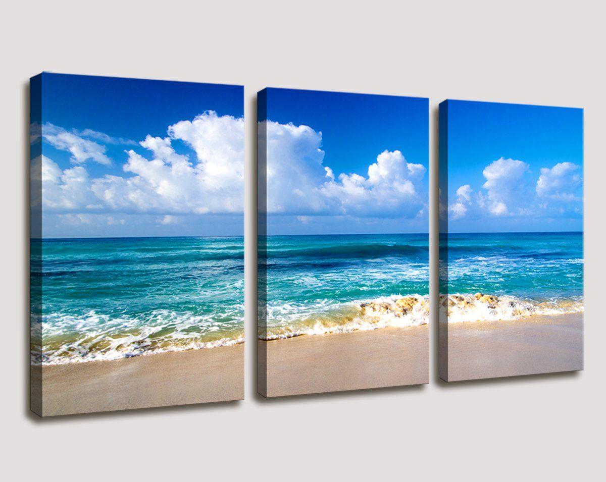 Moyedecor Art Blue Beach Theme Modern Stretched And Framed