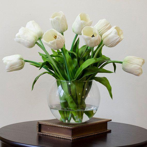 Real Touch Tulip Arrangement With White Tulip Flowers By Flovery Tulips Arrangement Tulip Decor Artificial Flower Arrangements