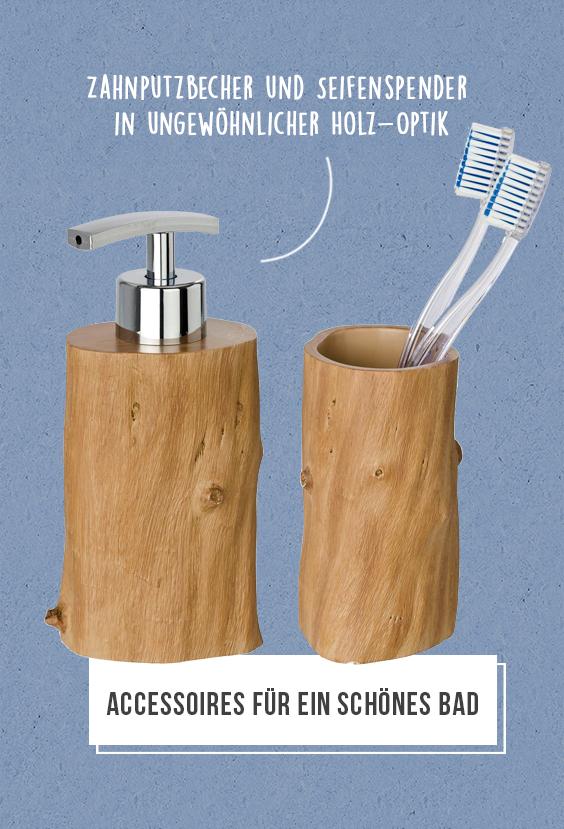 Das Etwas Andere Accessoire Set Fur Ein Schones Badezimmer Die Hochwertige Holz Optik Ist Ein Echter Hingucker Seifenspender Zahne Putzen Bad Accessoires Set