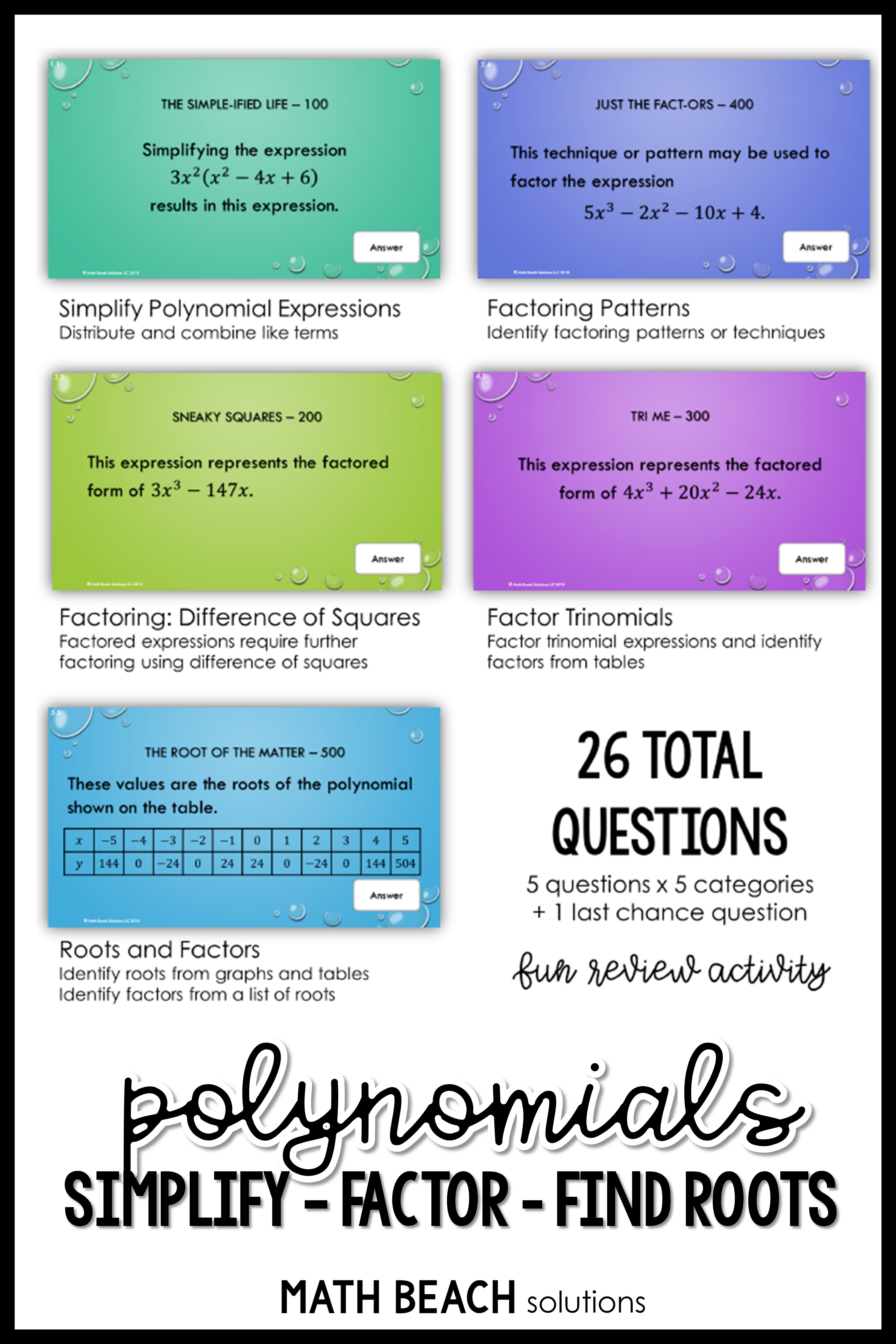 Why Is It That Students Don T Realize They Re Working When It Is Disguised In A Game Show Polynomials Simplifying Expressions Simplifying Algebraic Expressions