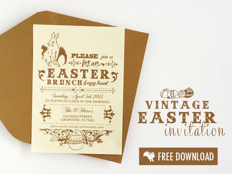 Free Vintage Easter Invitation Template | Download & Print | Free ...