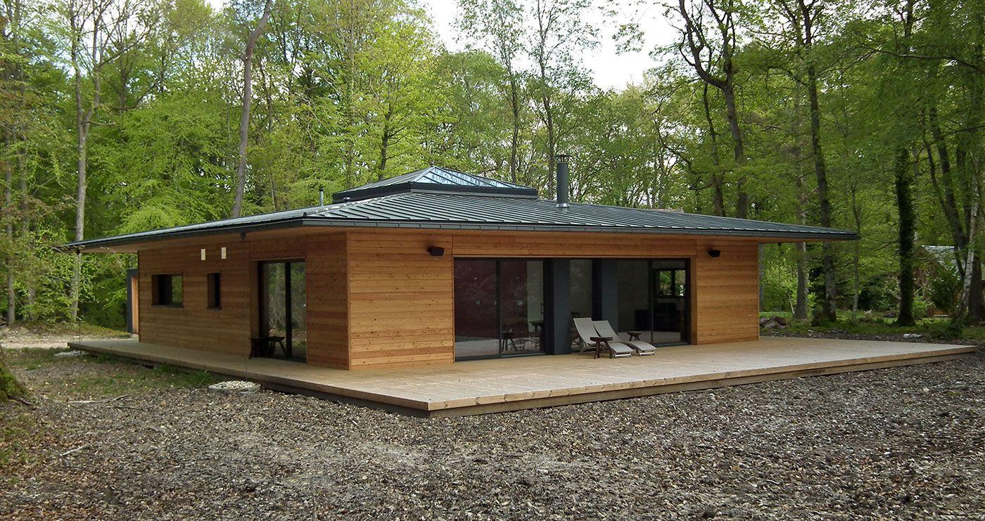 France Normandie Une Maison A Ossature Bois Carree En Pleine