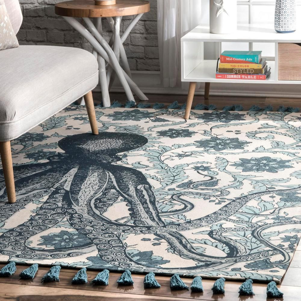 Nuloom Thomas Paul Contemporary Floral Octopus Aqua 5 Ft X 8 Ft Indoor Outdoor Area Rug Tatp03b 508 The Home Depot Area Rugs Area Rugs For Sale Flat Weave