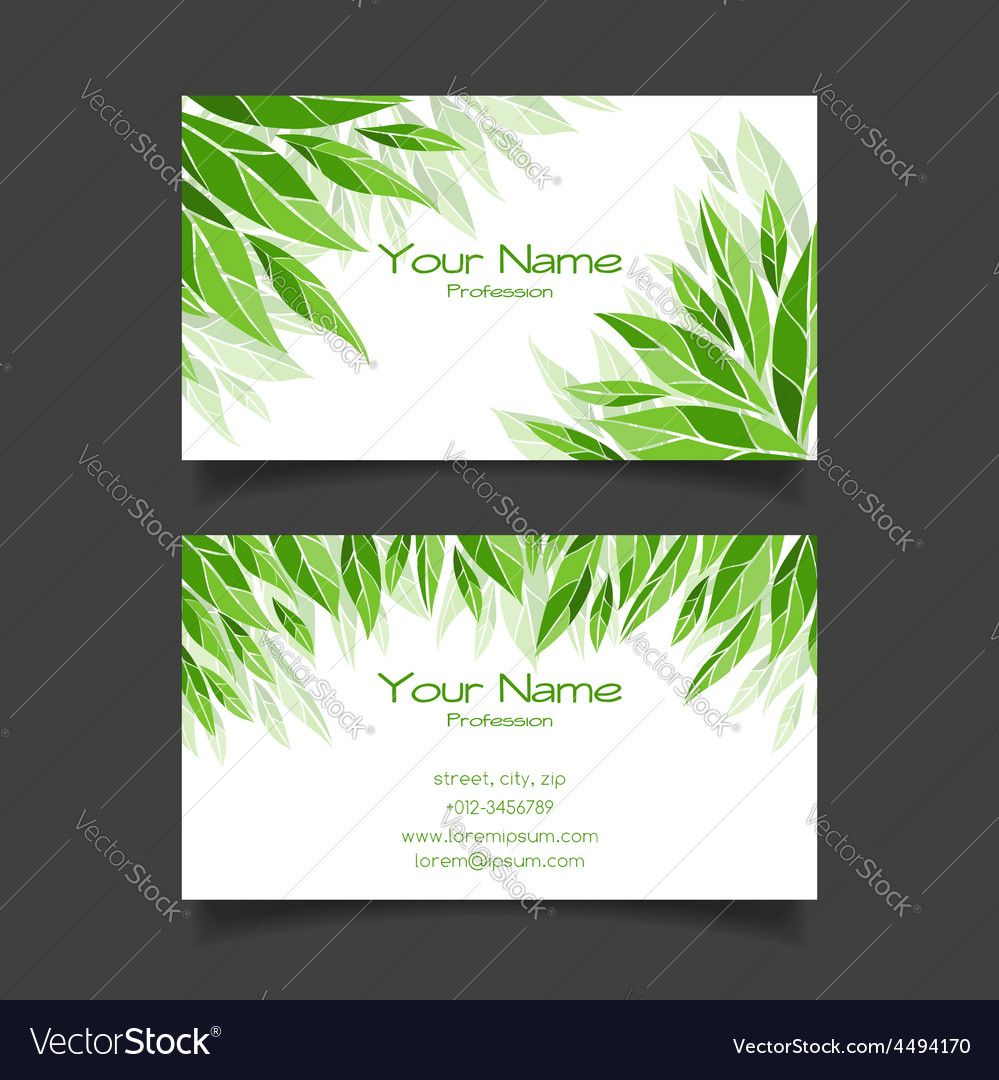 Business Card With Green Leaves Template Intended For Christi Photography Business Cards Template Free Business Card Templates Business Card Design Photography