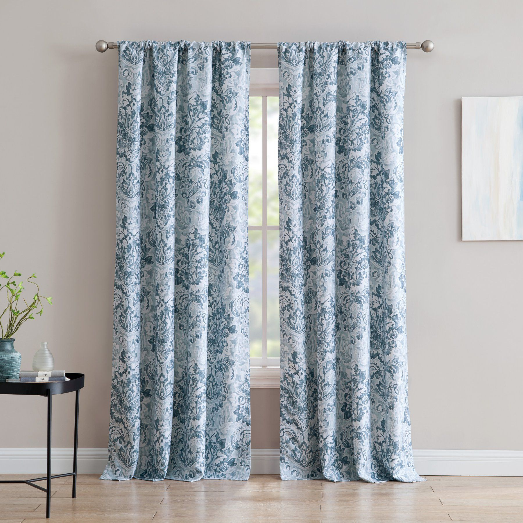 Inspired Surroundings An Damask 84 In Rod Pocket Curtain Panel