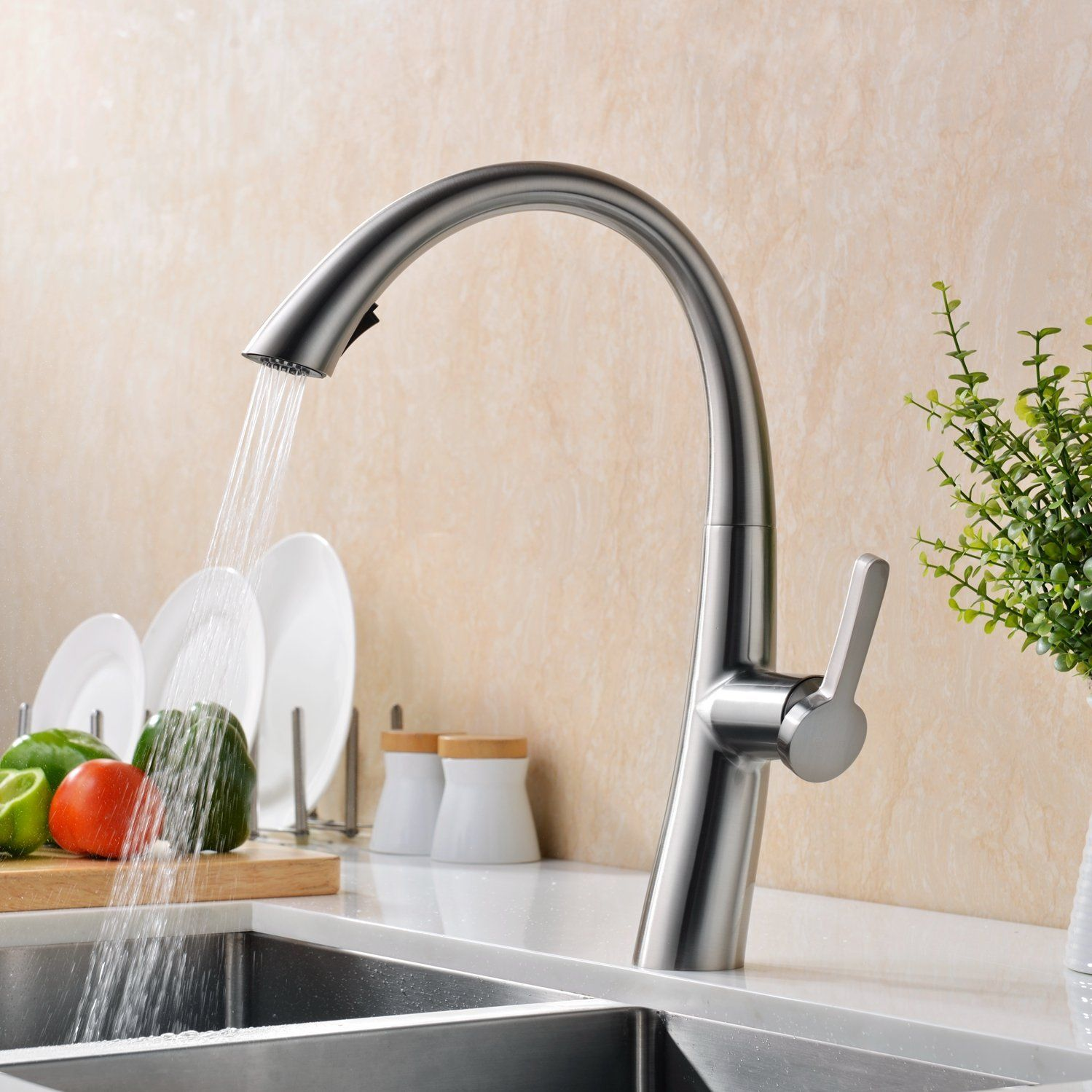 Modern Kitchen Taps gicasa modern stainless steel swivel spout monobloc pull out