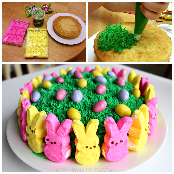 Easy Marshmallow Peeps Easter Cake | Holiday food and decorating ...