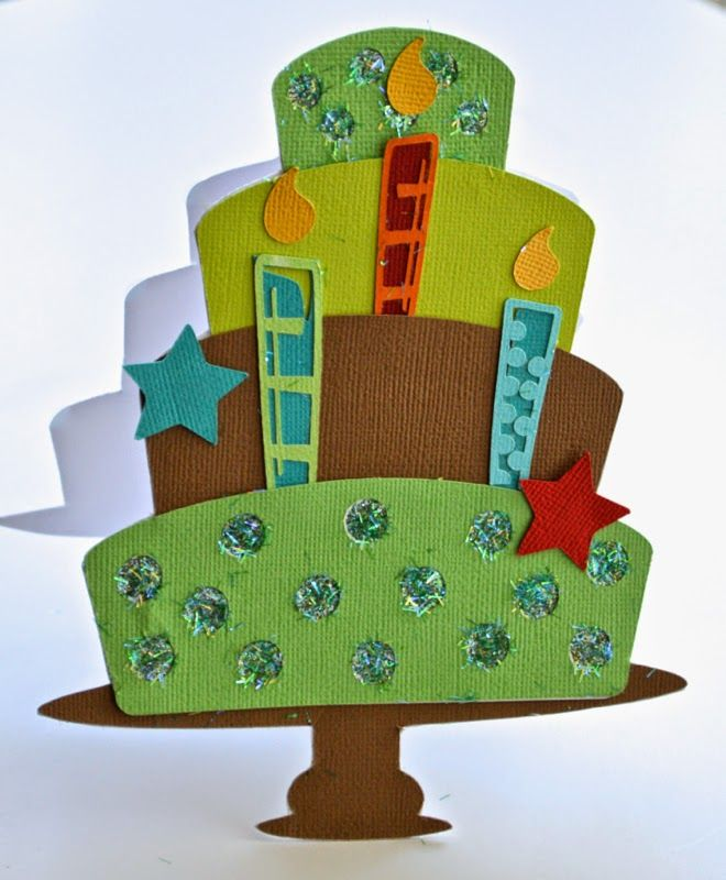Shaped Birthday Cake Card using Xyron Creative Station and so much more! Out On A Limb Scrapbooking. Pinky Hobbs