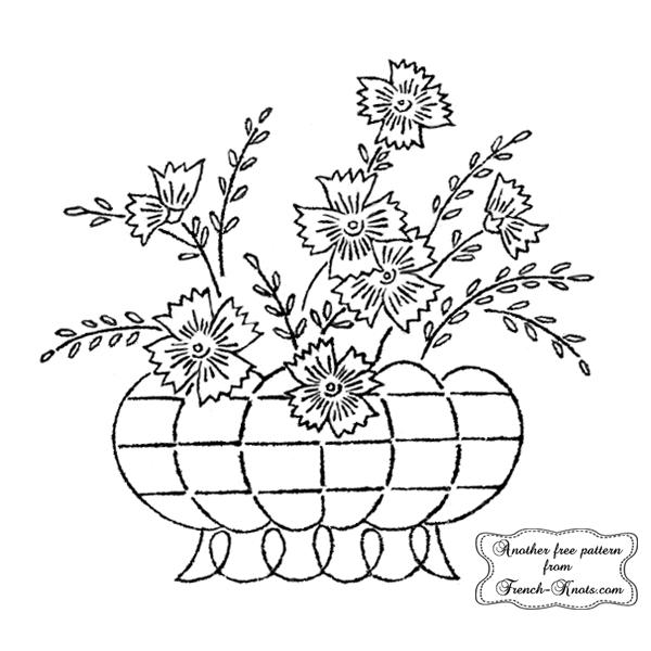 Flower Basket Embroidery Patterns - French Knots | BORDADOS | Pinterest