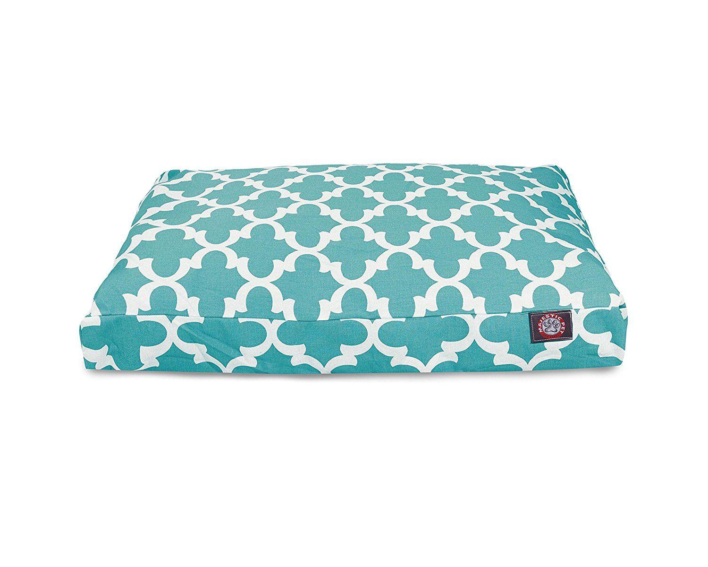 Teal Trellis Small Rectangle Indoor Outdoor Pet Dog Bed