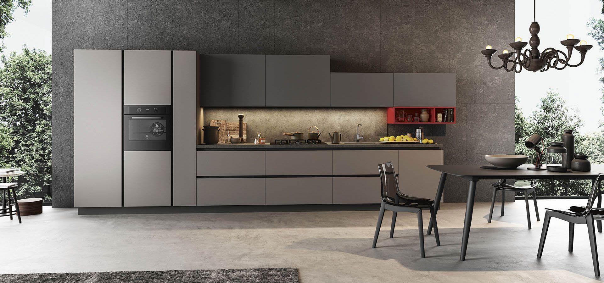 Cucina Moderna - Time Finiture: grigio opaco, vulcano opaco, rosso ...