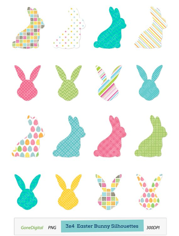 Easter bunny silhouette. Clipart clip