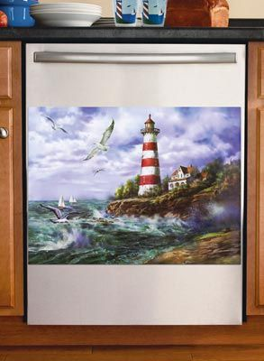 Lighthouse Decor Magnetic Dishwasher Cover Nautical Decor Beach Decor Ocean Decor Sea