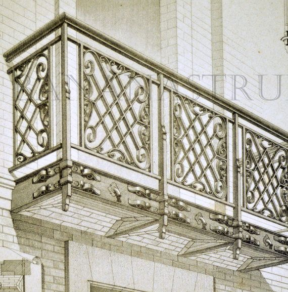 1880 French Antique Engraving of Decorative and Architectural Metalwork. Balcony of a home on rue Thiers. Plate 25