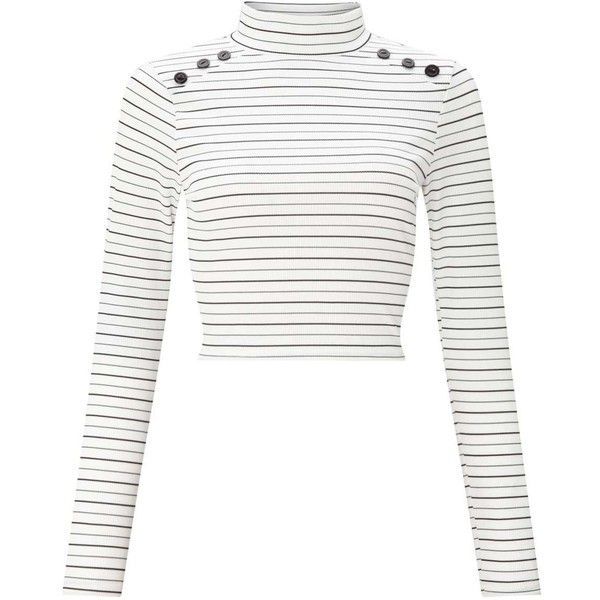 d6a8d8bed667f Miss Selfridge PETITE Striped Button Roll Neck Top (125 MYR) ❤ liked on  Polyvore