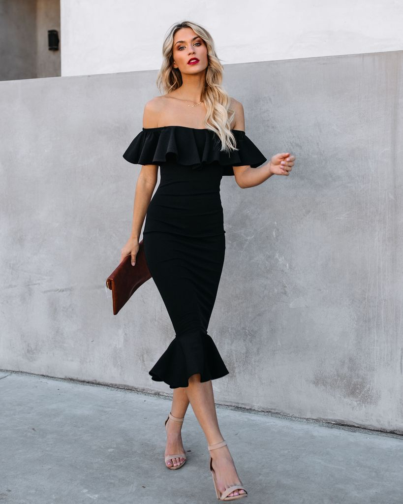 Havana Ruffle Midi Dress Black Black Midi Dress Ruffle Midi Dress Havana Nights Dress [ 1024 x 819 Pixel ]