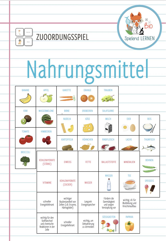 Nahrung und Ernährung   Zuordnungsaktivität – Unterrichtsmaterial ...