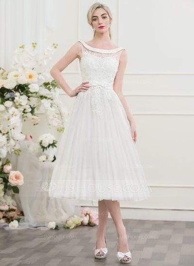 30ff09a3ea7a A-Line/Princess Off-the-Shoulder Tea-Length Tulle Lace Wedding Dress With  Beading Bow(s) (002095839)