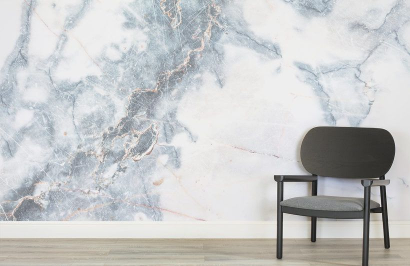 Deep Blue Clouded Marble Wall Mural Marble Wall Pink