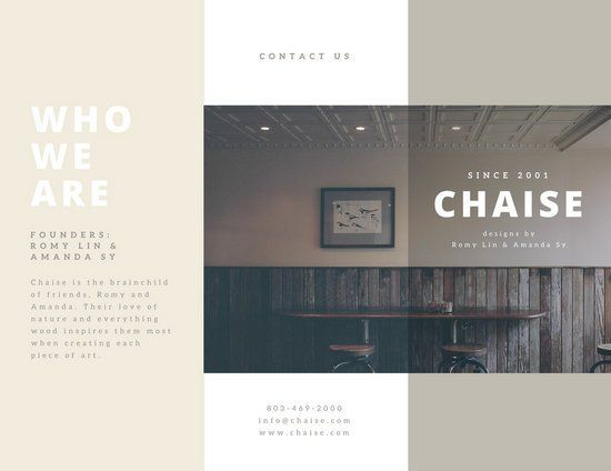Cream Furniture Trifold Sales Brochure