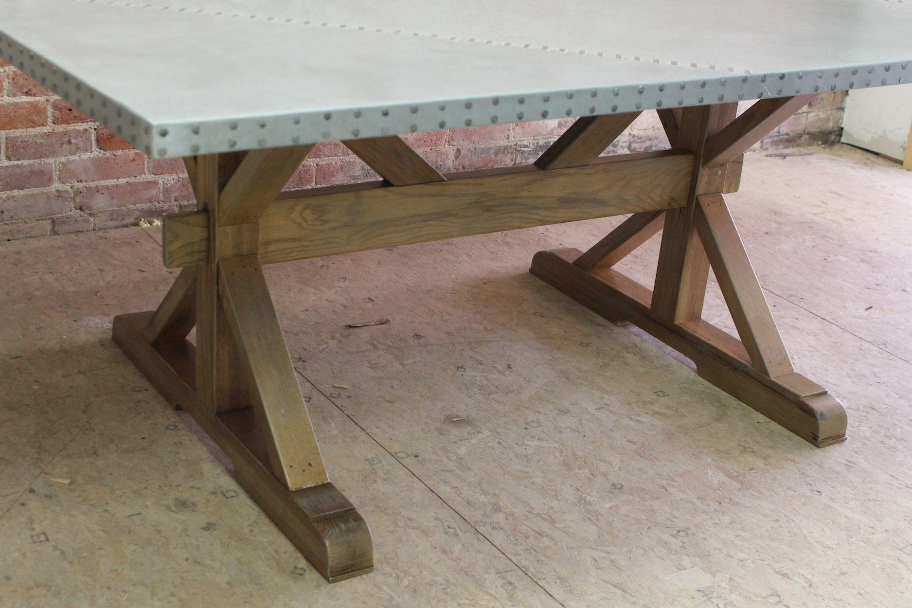 Zinc Top Farm Table With X Trestle Base Zinc Table Zinc Table Top Farm Table