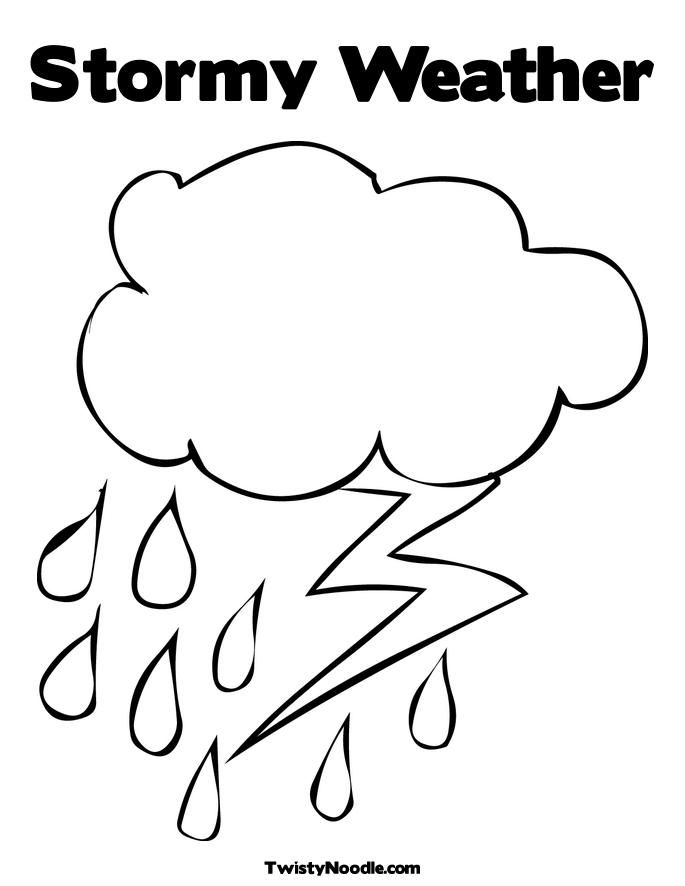 Cloud Rain Lightning Coloring Sheet Weather