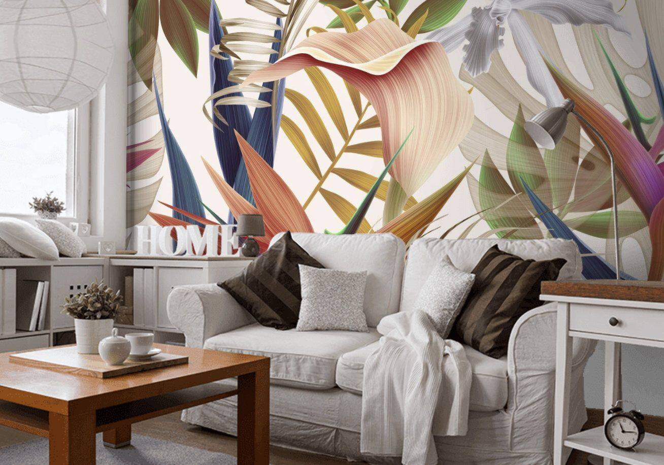 Floral Wallpaper Tropical Wallpaper Self Adhesive Flower Etsy Tropical Wallpaper Floral Wallpaper Modern Wall Art Canvas