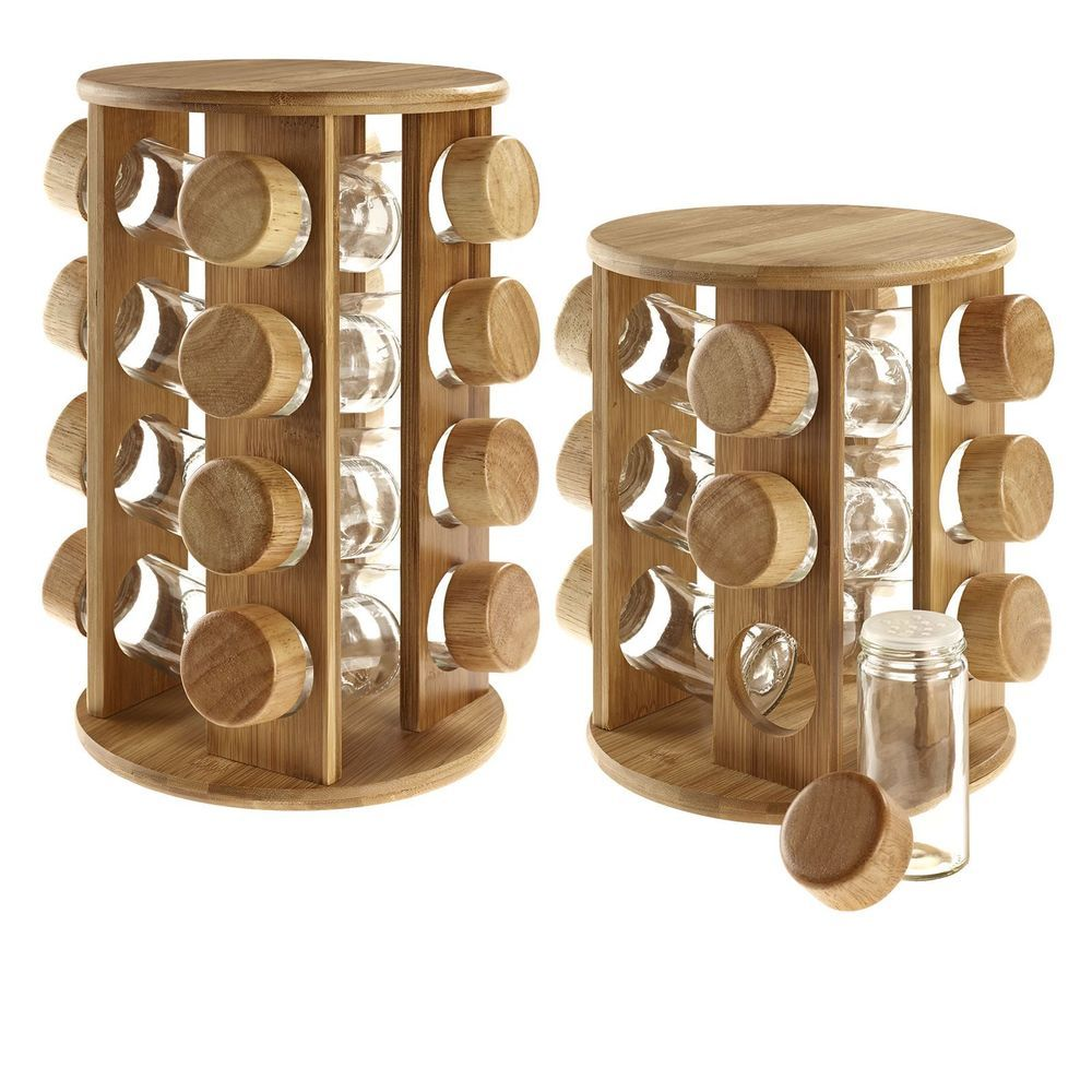 Gift For Kitchen Details About Wooden Rotating Revolving Bamboo Spice Rack Glass