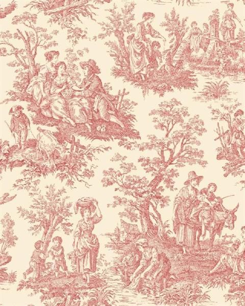 Wa7829 Waverly Classics Red And White Country Life Toile Wallpaper Totalwallcovering Com Toile Wallpaper Waverly Wallpaper Toile Fabric