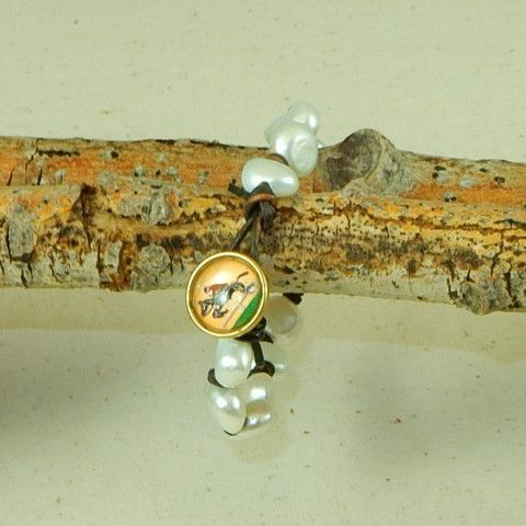Pearl Bracelet with Vintage Horse Button