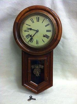 Regulator A Wall Clock Chime Original Key Pendulum Roman Numerals Stained Oak 473000275 Wall Clock Clock Ansonia Clock