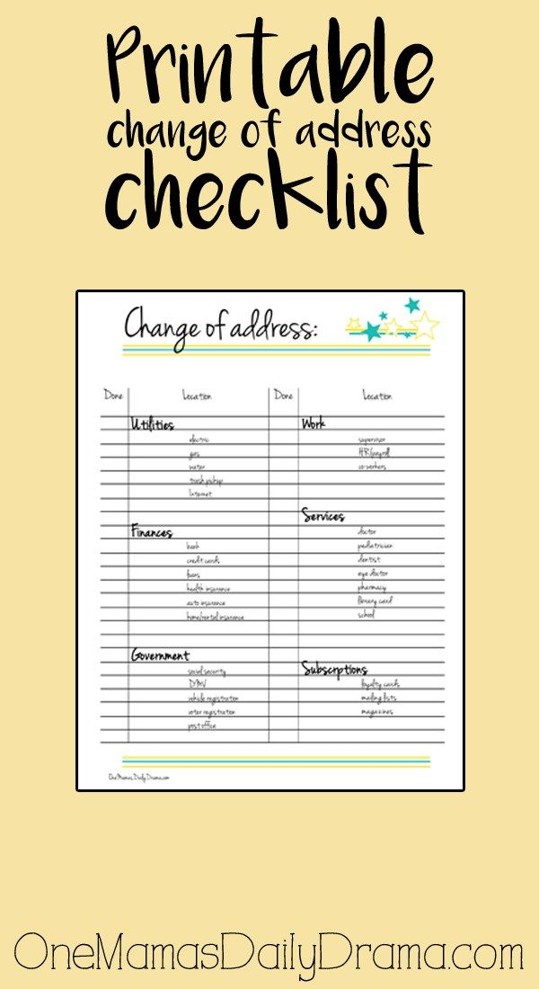 Printable change of address checklist Free printable and Planners - free change address