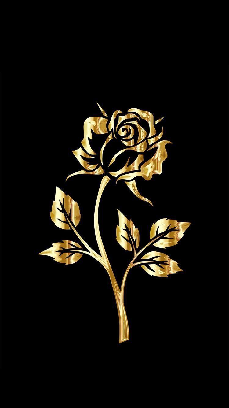 Golden rose gold and black wallpaper