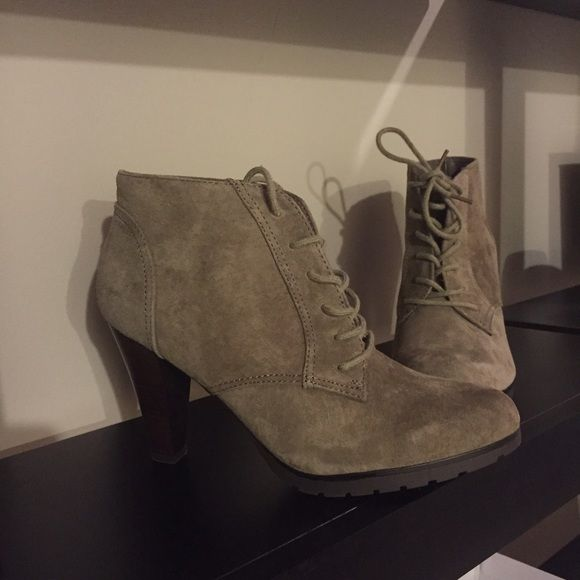 """Ankle Booties Dust colored heeled booties. Brand new in box, never worn. Heel is 4"""" Shoes Ankle Boots & Booties"""