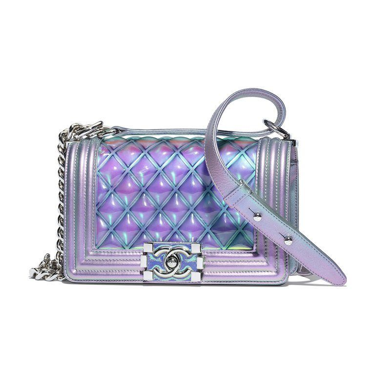 BOY CHANEL bag in purple PVC and iridescent leather  7447809dc3dff