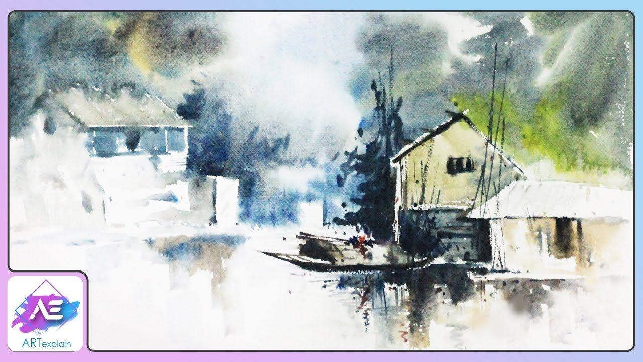 Transparent Watercolor Landscape Painting Tutorial How To Paint