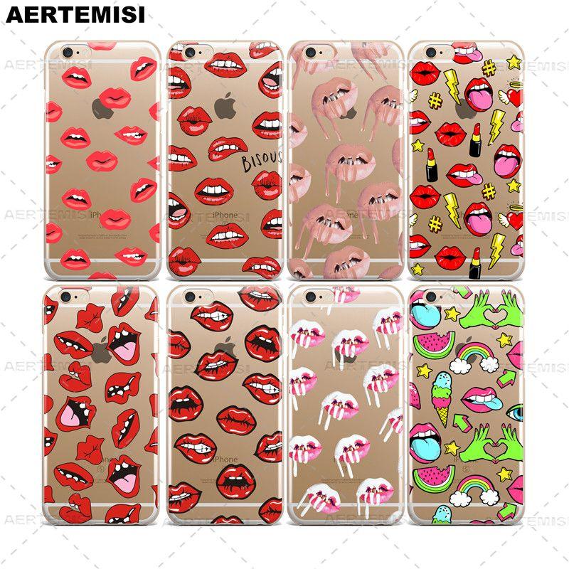 電話ケースカイリージェンナー口紅リップ化粧品クリアtpuケースカバーのためのapple iphone 5 5 s se 6 6 s 7プラス