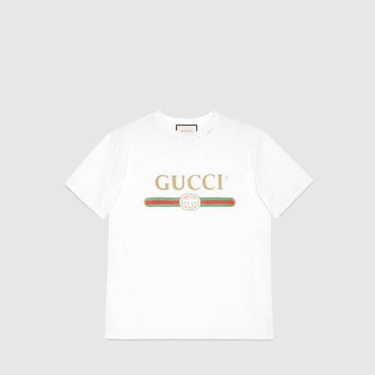 Gucci Camiseta Básica de Algodón con Estampado Gucci  507c8bed05f