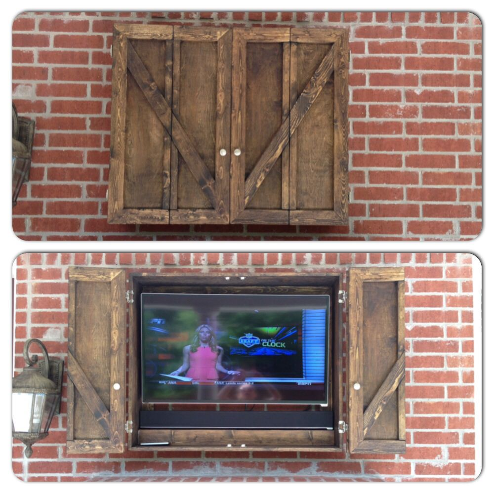 our new custom outdoor tv cabinet diy projects pinterest. Black Bedroom Furniture Sets. Home Design Ideas