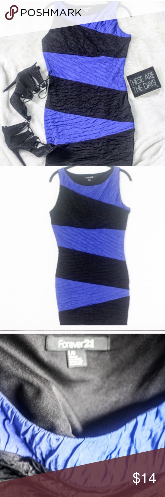 NWOT  blue & black stripe body-con NWOT  blue & black stripe body-con dress; ruched and very flattering! Forever 21 Dresses Mini