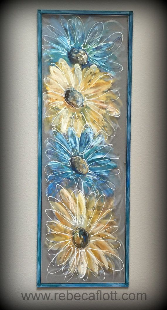 Flowers Blue And Yellow Flowers Hand Painted Window Screen Art Porch Decor Outside Art Flower Painting Window Painting Window Art