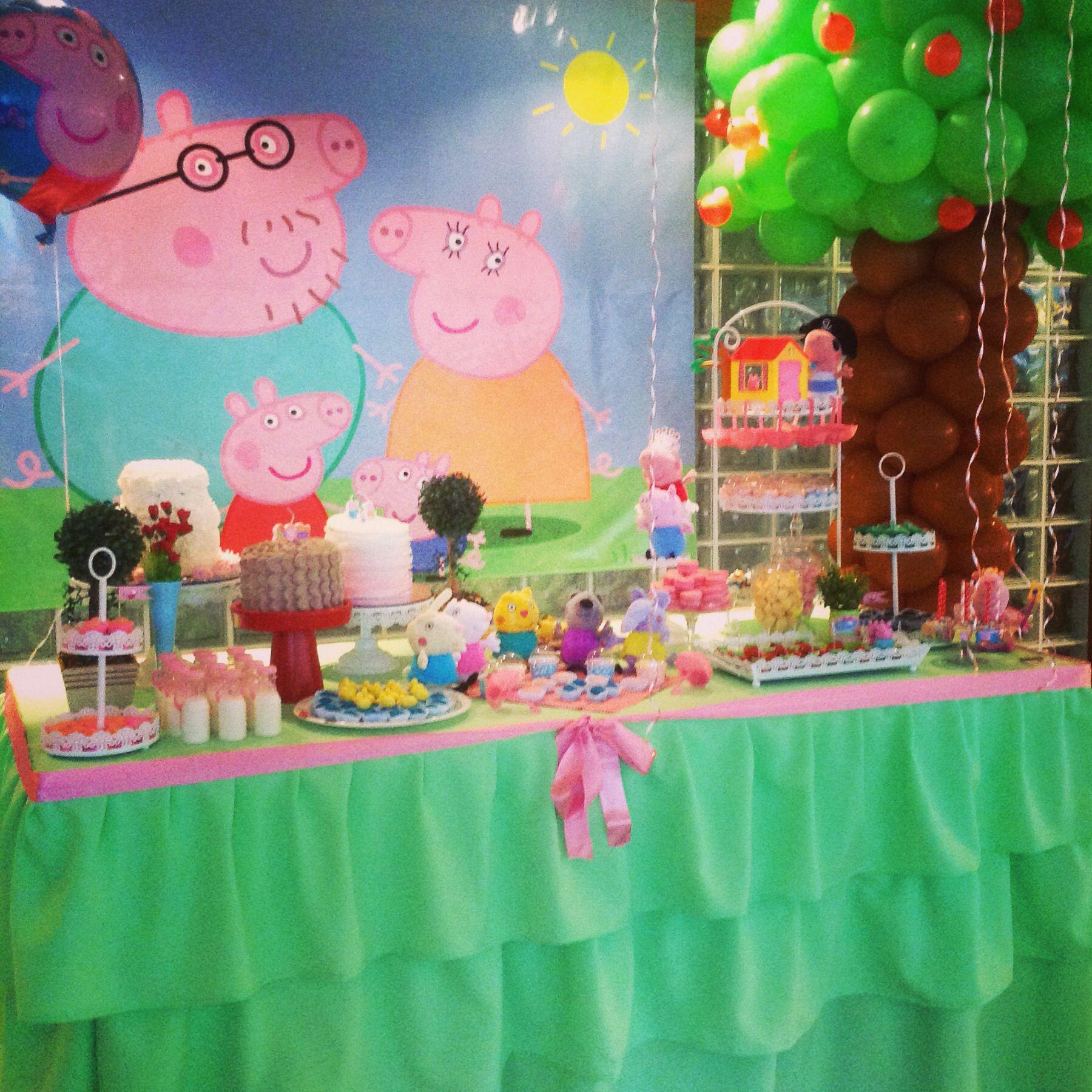 Mesa de postres de fiesta peppa fiestapeppalacerdita for Mesas cumpleanos infantiles