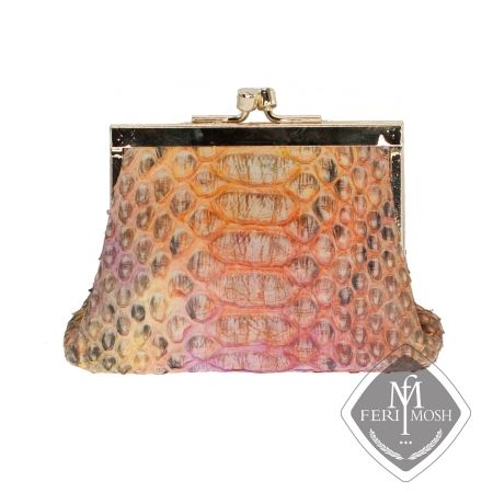 FERI MOSH Exotic - Lucia - Change Purse   - Multi-coloured genuine python leather change purse - Made with genuine hand dyed python skin - Gold plated opening with ball and socket closure - Nappa leather lining with FERI MOSH logo embossed inside - Dimension: 3.94 inches x 3.15 inches - Made in Italy  Invest with confidence in FERI MOSH Exotic Collection.