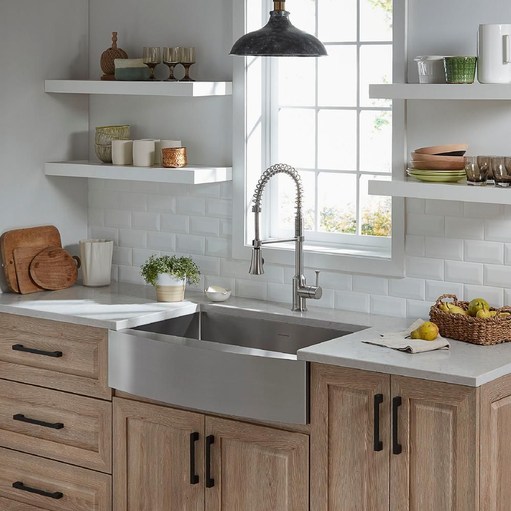 American Standard Pekoe Farmhouse Apron Front Mount Stainless Steel 30 In Single Bowl Kitchen Sink 18sb9302200a075 The Home Depot Farmhouse Sink Kitchen Rustic Kitchen Cabinets Stainless Steel Farmhouse Sink