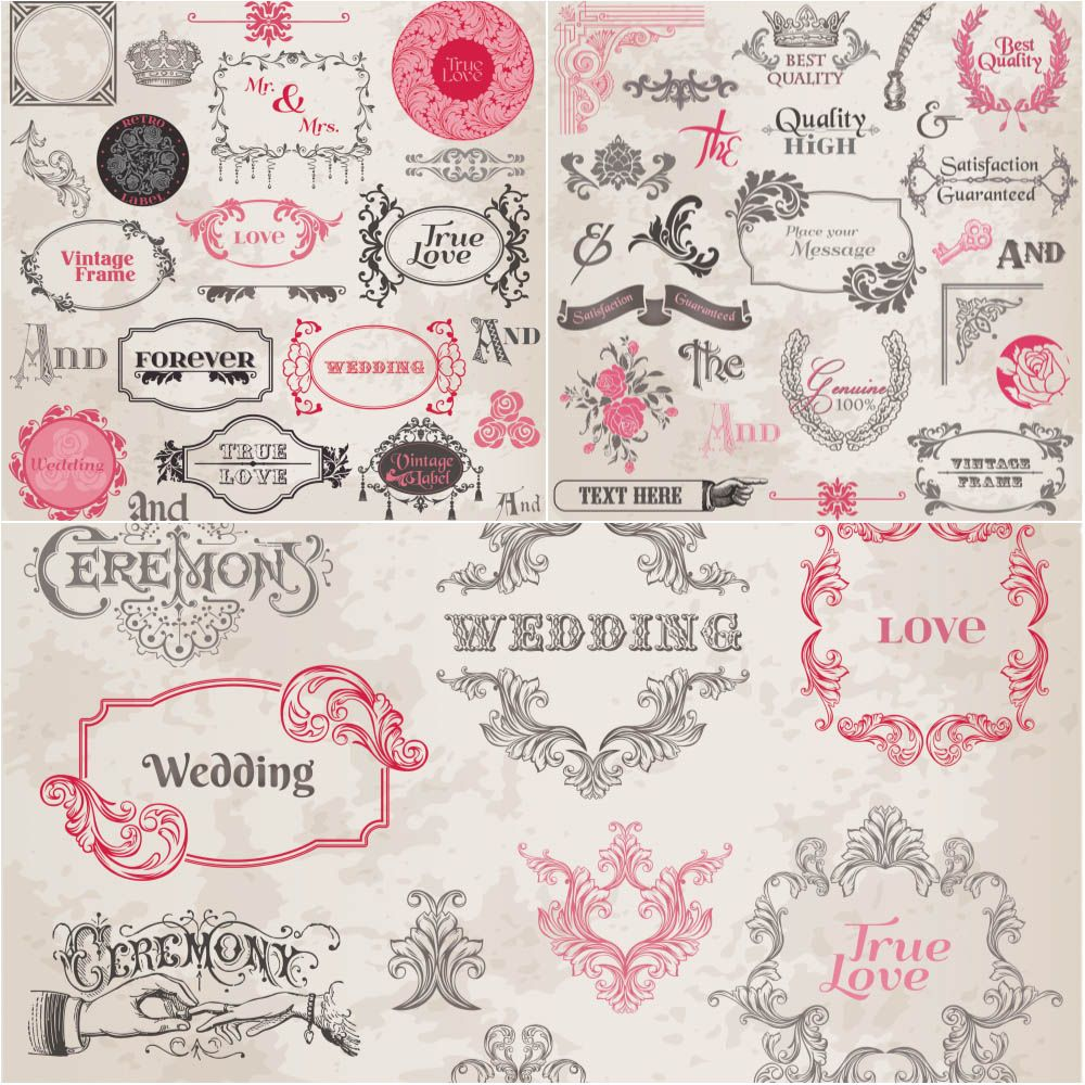 Vintage Wedding Frames With Floral Ornaments Vector Free Download Ai Eps For Vintage Wedding Invitations Templates Wedding Frames Vintage Wedding Invitations