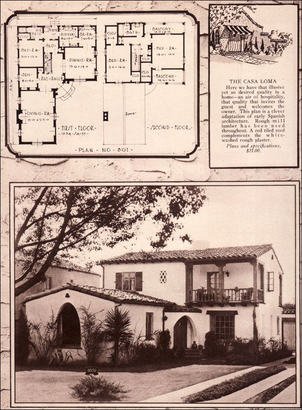 The Casa Loma 1928 Distinctive Homes by Matot Construction  This Monterey-style Spanish plan is quite spacious and grand making it one of the higher-end homes shown in the Matot book. Altogether, there are three bedrooms and two bathrooms. In addition, there is a den and breakfast room as well as the large living room and formal dining room on the main floor. The second floor has two large bedrooms with large closets and two balconies.