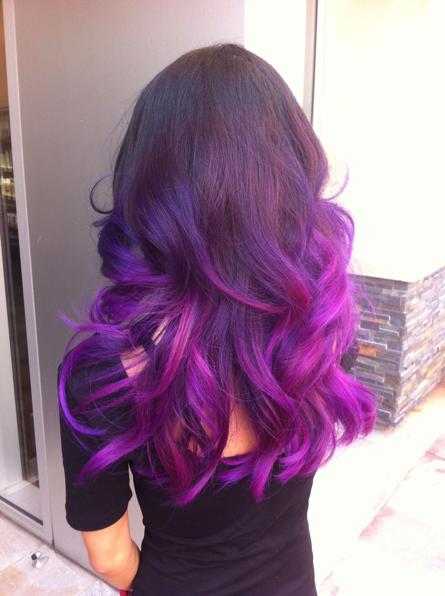 my hair black base,purple to magenta ombré | purple&pink ombré