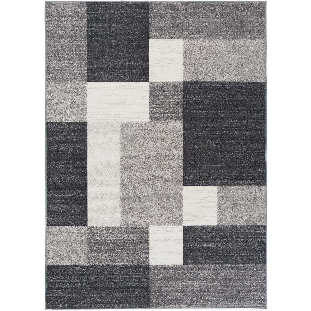 World Rug Gallery Geometric Boxes Design Non Slip Non Skid Gray 1 Ft 8 In X 2 Ft 6 In Indoor Rug World Rug Gallery Modern Area Rugs Grey Area Rug